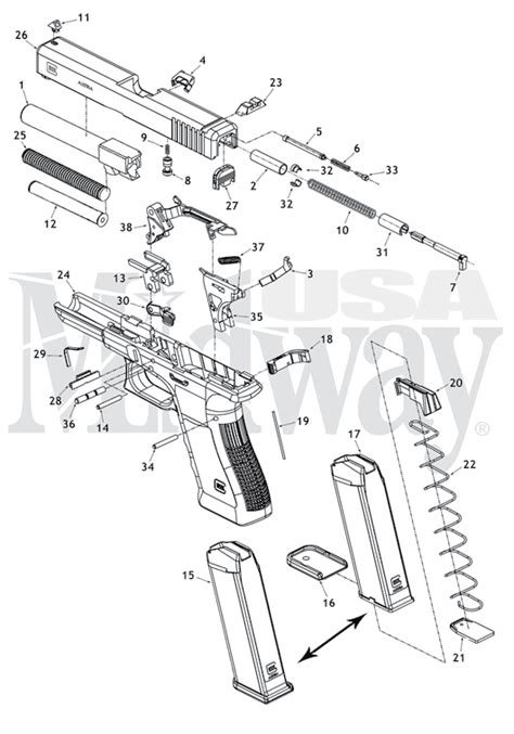Gland For Airless 45 1 size glock schematic is here at midwayusa
