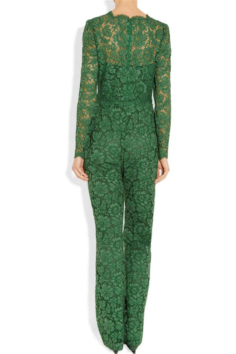 lyst valentino cotton blend lace jumpsuit in green