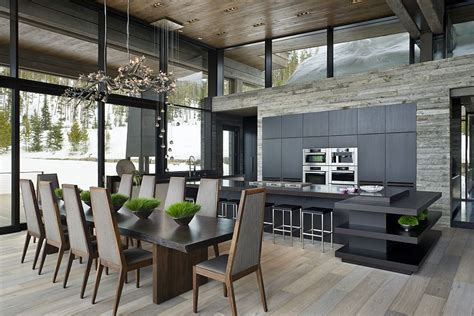 vacation home kitchen design private luxury ski resort in montana by len cotsovolos