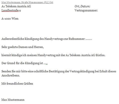 Musterbrief Kündigung Handyvertrag O2 A1 Telekom Austria K 252 Ndigen Mit Unserer Vorlage