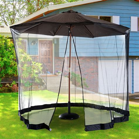 Patio Umbrella With Mosquito Netting Outsunny 7 5 Outdoor Umbrella Mosquito Net Black Patio Umbrellas Outdoor Living Outdoor