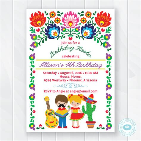 Kids Fiesta Birthday Invitation Children S Mexican Fiesta Invite Fiesta Birthday Invite Cinco Mexican Invitation Template