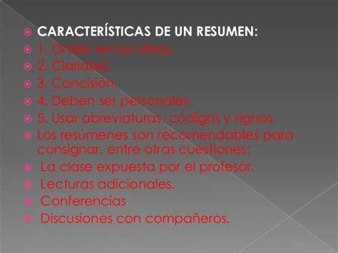 Resumen Y Sus Caracteristicas by Resumen Sintesis Ensayo