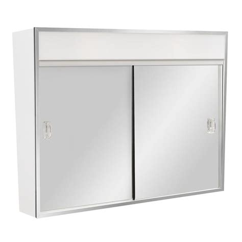 chrome framed medicine cabinet lighted sliding door surface mount medicine cabinet bar