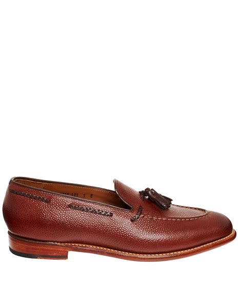 brown tassel loafers grenson brown tassel grain leather loafers in brown