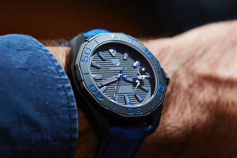 Tag Heuer Clone Aquaracer Blue in depth review 2016 aquaracer 300m titanium blue sand and editions the home of tag heuer