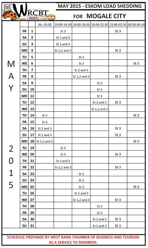 printable load shedding schedule find your load shedding schedules here municipality watchdog
