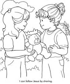 sharing with others coloring page