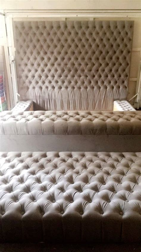 oversized tufted headboard diamond tufted oversized bed with storage bench and ottoman