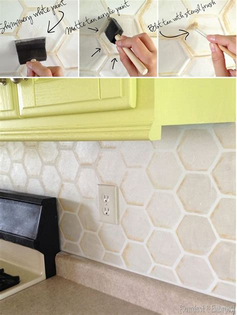 how to sponge paint a tile backsplash paint tiles tile and paint how to stencil your backsplash reality daydream