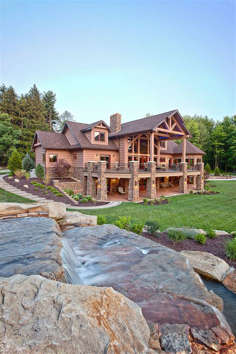 back view of this milled log home cortland oh home by wisconsin log homes inc the log