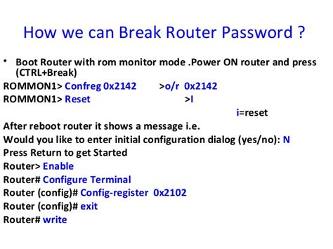reset nvram with terminal modes of router