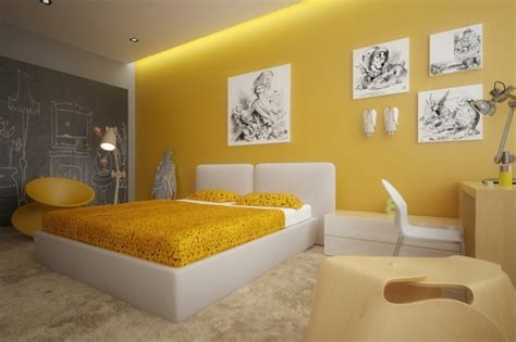 Cool Painting Ideas For Bedrooms gelbe farbgestaltung im schlafzimmer 24 fotos