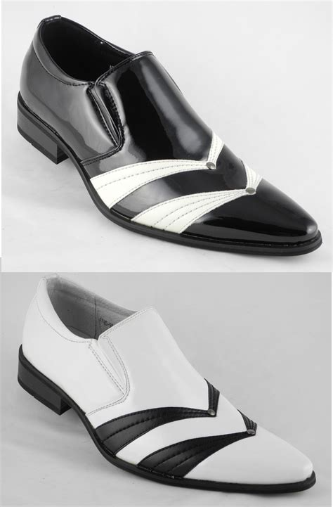 mens patent leather look slip on dress shoes black white size 6 7 8 9 10 11 12 ebay