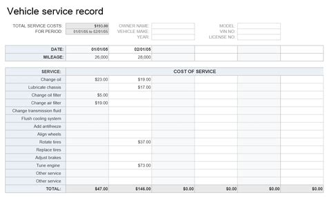 vehicle service record template vehicle service record template excel templates excel