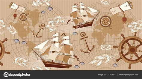 vintage map pattern old map seamless pattern vintage compass sailboat