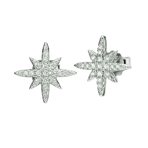 folli follie silver snowflake stud earrings jewellery