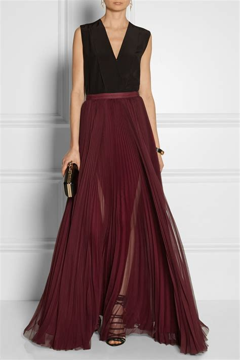 j mendel pleated silk chiffon maxi skirt net a porter