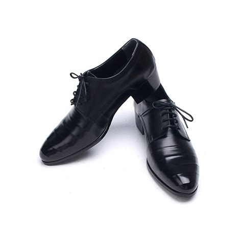 black high heel dress shoes mens line wrinkles lace up high heels dress shoes
