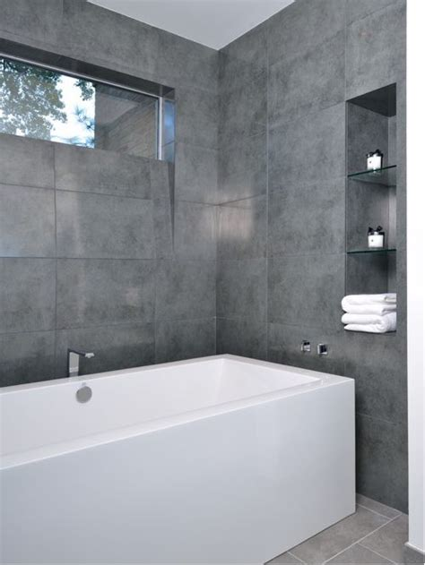 Modern Grey Bathroom Large Format Grey Tile Home Design Ideas Pictures Remodel And Decor