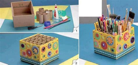 How To Make A Pencil Holder With Paper - how to diy easy pencil holder from toilet paper rolls