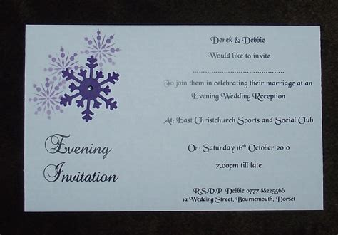 wedding invitations evening wedding invitations evening invitation personalised snowflake corner design postcard style day