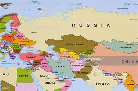 map of eurasia map of eurasia and the middle east stock photo getty images
