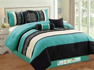 turquoise comforter sets 7pc key meander motif embroidery comforter set