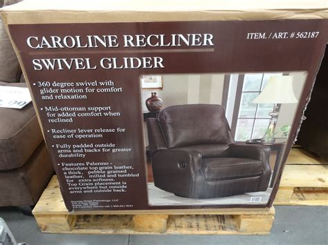 costco recliner 399 synergy caroline leather recliner swivel glider