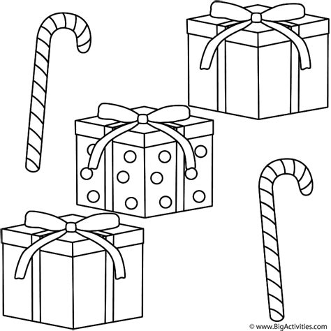 christmas gifts  candy canes coloring page christmas