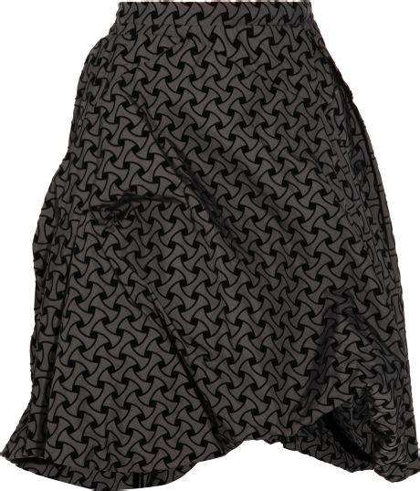 grey patterned skirt marni patterned taffeta skirt in gray black lyst