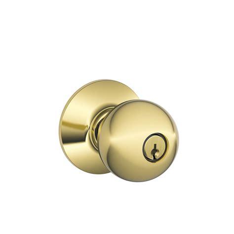 Keyed Door Knobs by Shop Schlage F Orbit Bright Brass Keyed Entry Door