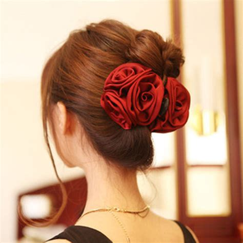 Parfum Korean Hair Clip korean ribbon flower bow jaw clip barrette hair claws for headwear hair