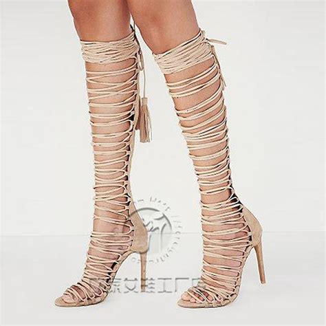 high heeled gladiator boots chaussure femme overknee thigh high gladiator sandals high