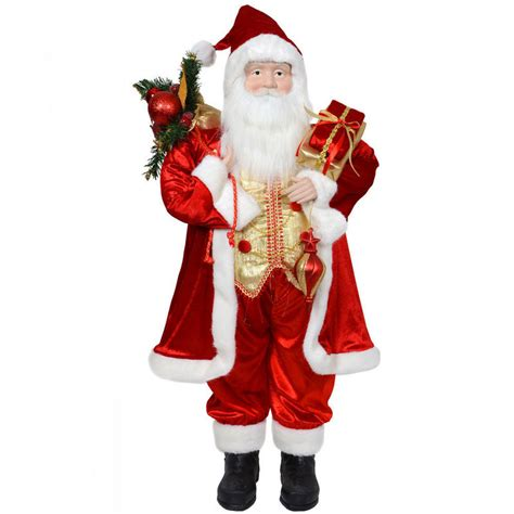 91 5cm red standing santa claus detailed festive indoor