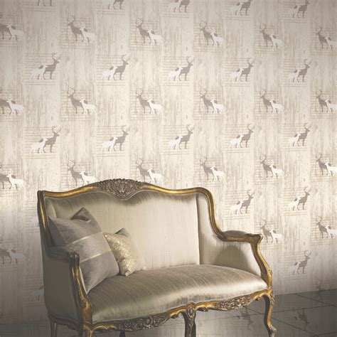 Mural Wall Hanging arthouse stag wallpaper cream
