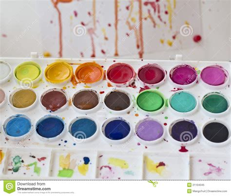 water color paints used watercolor paint set royalty free stock photo image