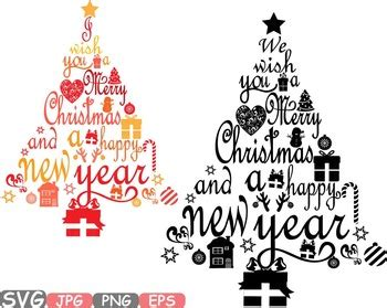 christmas trees star happy  year word art letters calligraphy clipart
