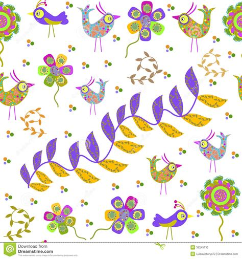 cute cartoon pattern cute seamless pattern with cartoon bird and flower stock