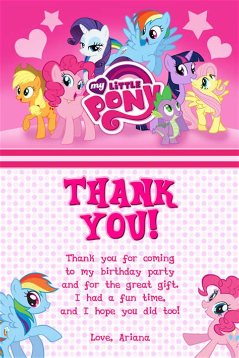 my pony thank you card template my pony invitations friendship is magic