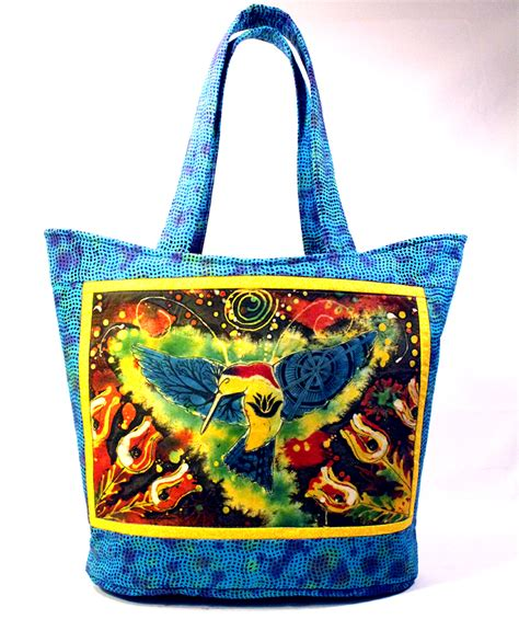 Handmade Quilted Bags - hummingbird in nature batik dye set on btika
