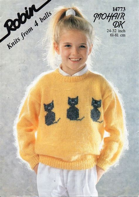 knit cat sweater pattern childrens mohair cat motif sweater knitting pattern pdf dk