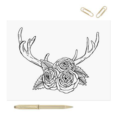 coloring pages of deer antlers printable coloring page antlers flowers