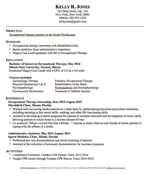 therapy resume objectives occupational therapy resume templates http