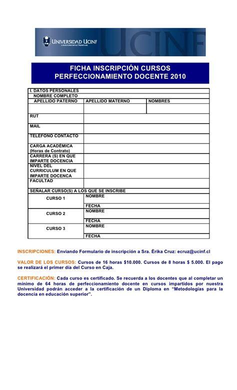 hoja de solicitud de inscricion f 300 formulario unico de view image ficha inscripci 243 n cursos perfeccionamiento