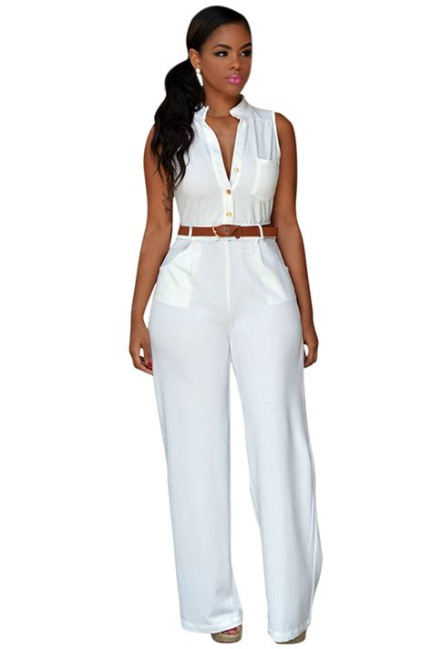 Jumpasuit Import Bkk womens sleeveless belted wide leg jumpsuit white pink