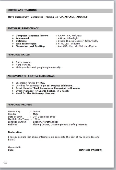 Resume In Exle by Resume Freshers Format Free Excel Templates