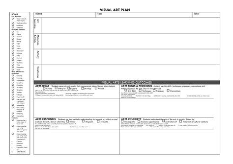 visual arts lesson plan template visual art plan art