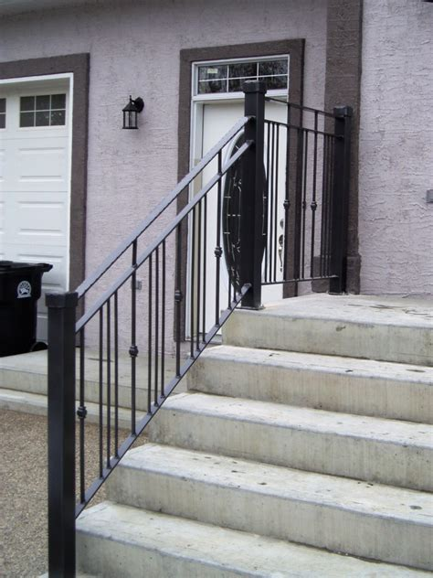 Front Door Railings Front Porch Simple Heavenly Front Porch Design Idea With Concrete Staircase Combine With Black