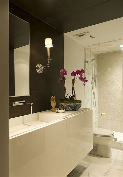 brown bathroom walls floating vanity modern bathroom huntley company